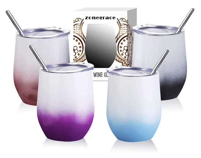 Zonegrace 4 pack 12 oz Stainless Steel Stemless Wine Glass Tumbler