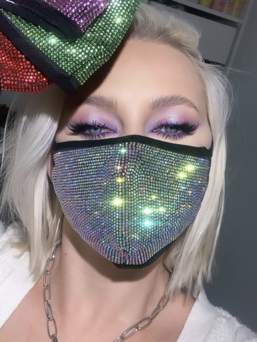 STYLECASTER   Ariana Grande Rhinestone Face Mask