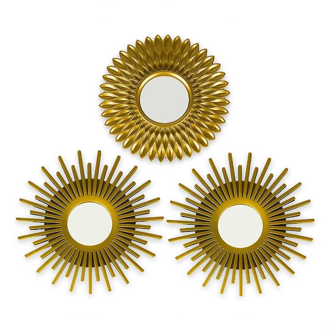 Gold Mirrors for Wall Pack of 3