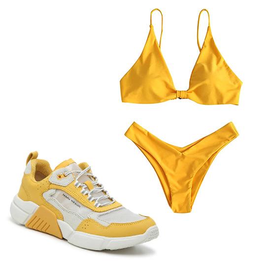 STYLECASTER | Hailey Bieber Yellow Bikini
