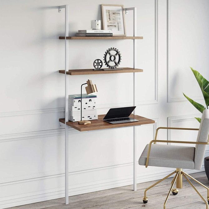 Nathan James Theo 2-Shelf Industrial Wall Mount Ladder
