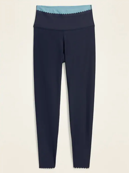 old navy high waisted elevate powersoft scalloped edge leggings
