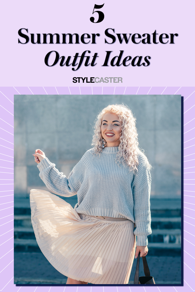 STYLECASTER | summer sweater outfit ideas | summer outfit ideas | fall outfit ideas | sweater and skirt outfit ideas | sweater outfits | warm weather outfits | hot weather outfits | fall outfits | summer outfits