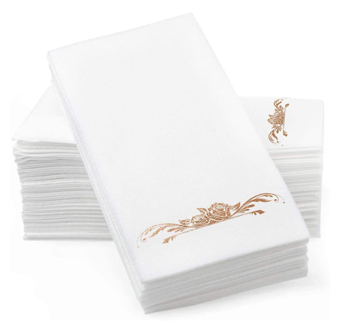 Gold Foil Stamped Airlaid Paper Dinner Napkins