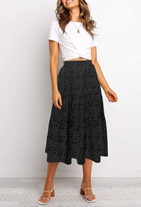 MEROKEETY Women's Boho Leopard Print Skirt