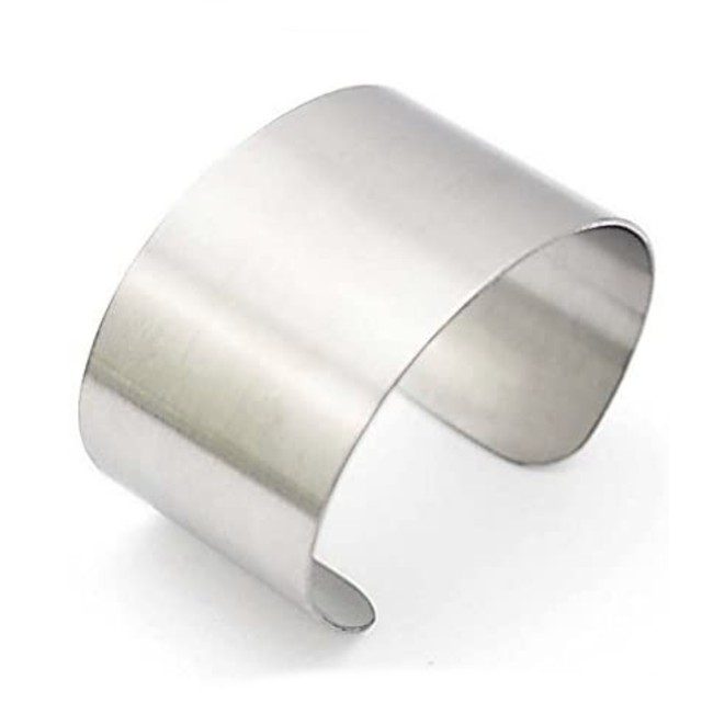 COUYA Silver Wide Grooved Cuff Bangle
