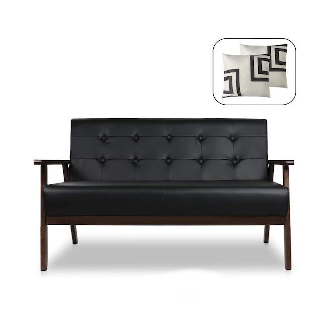 Mid-Century Modern Solid Loveseat Sofa