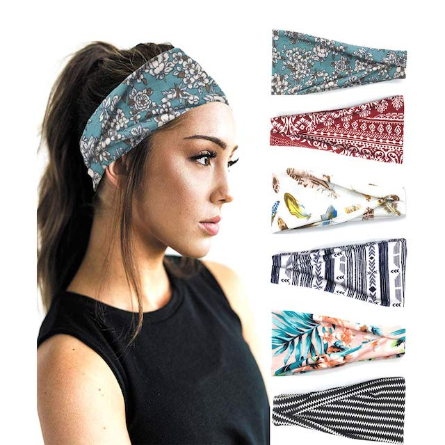 PLOVZ 6 Pack Women's Headbands Sports Workout Hair Bands