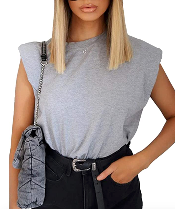 STYLECASTER | padded shoulder muscle tee trend