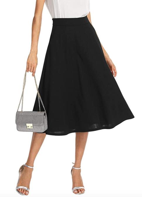 SheIn Women's Casual High Waist A Line Pleated Midi Skirt