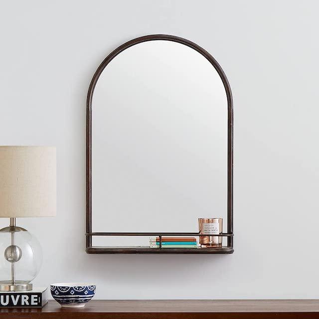 Stone & Beam Modern Round Mirror With Shelf