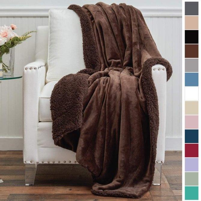Micromink Velvet with Sherpa Reversible Throw Blanket