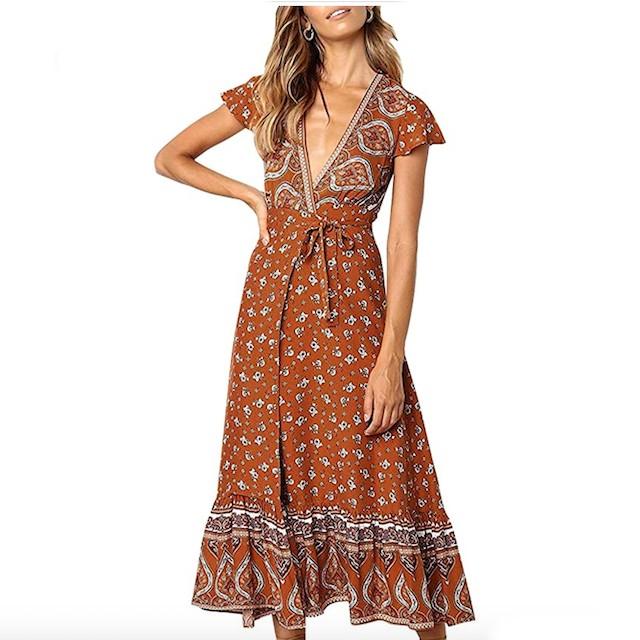 ZESICA Women's Bohemian Floral Printed Wrap Dress