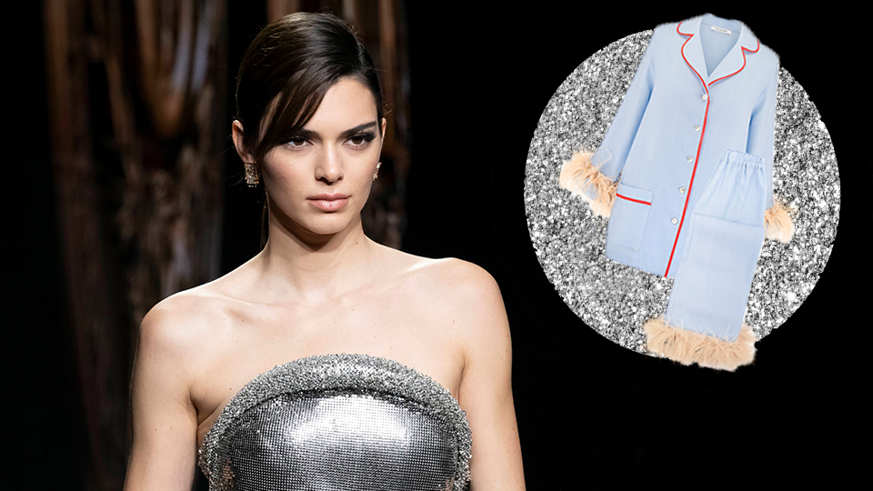 Kendall Jenner's Feathered PJ Set Is Pajama Party-Ready Couture