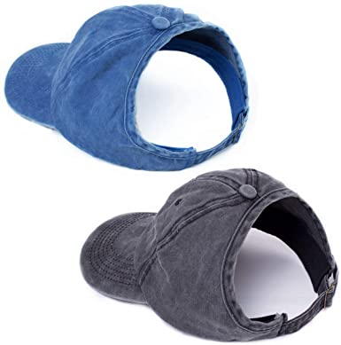 BEIRA 2 Pack Backless Ponytail Hat for Women Afro Drawstring Puff Ponytail Baseball Cap
