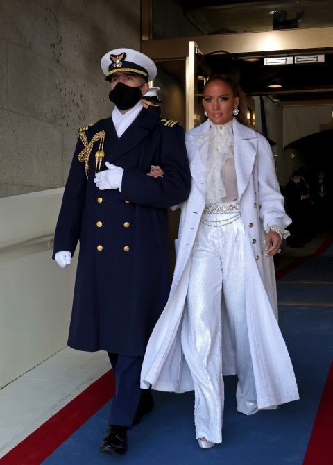 Singer Jennifer Lopez arrives for the inauguration of Joe Biden as the 46th President of the United States on th