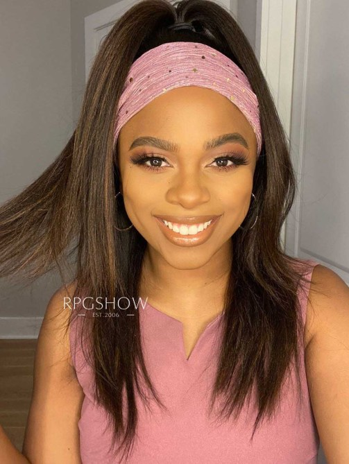 Brown Highlights Yaki Textured Headband Wig 1 Headband Wigs Are Trending Like Crazy & Here Are My Favorites