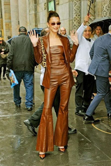 STYLECASTER | Bella Hadid Brown Suit