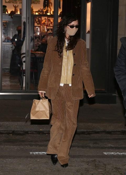 MEGA729165 015 1 Bella Hadids Baggy Brown Suit Looks Like A Big Piece Of...Chocolate