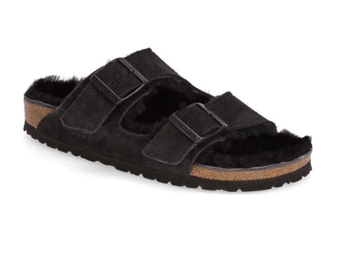 Black Arizona Genuine Shearling Slide Sandal