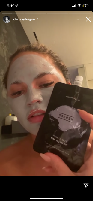 chrissy teigen face mask shower Chrissy Teigen Is Obsessed With This $10 Clarifying Face Mask From Target