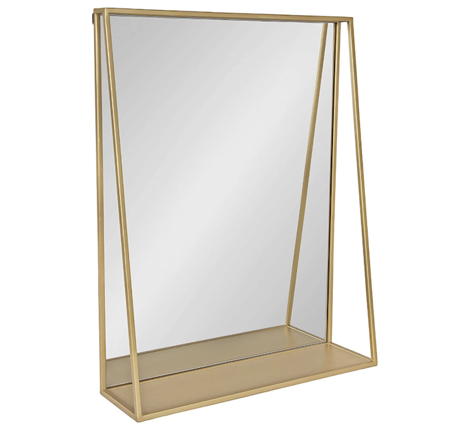 Kate and Laurel Lintz Mid-Century Mirror with Storage Shelf