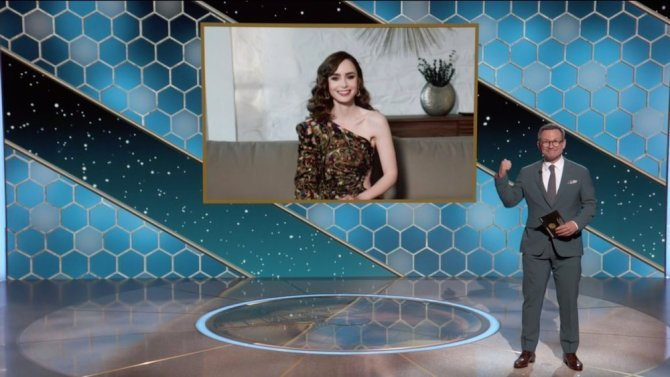 STYLECASTER | Lily Collins Golden Globes