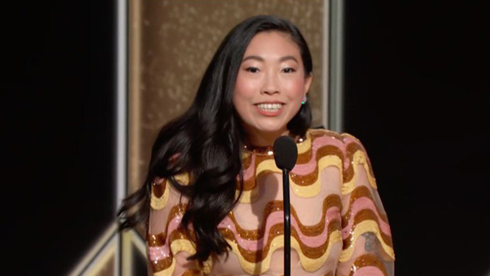 Awkwafina's Golden Globes Look Featured Sparkly Gucci Stripes