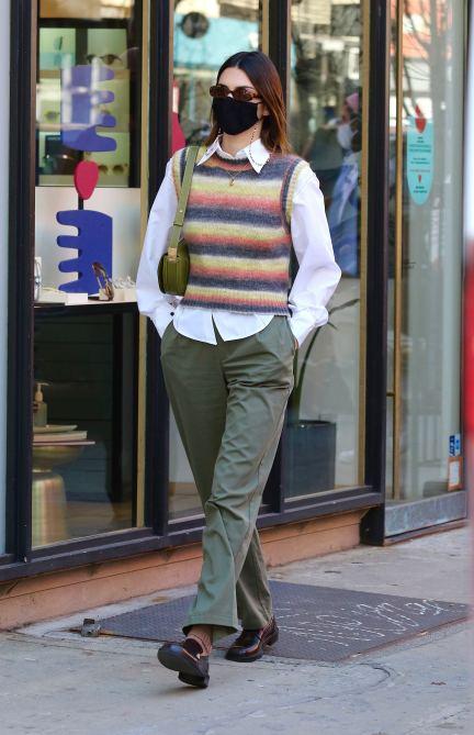 STYLECASTER | Kendall Jenner Striped Sweater Vest