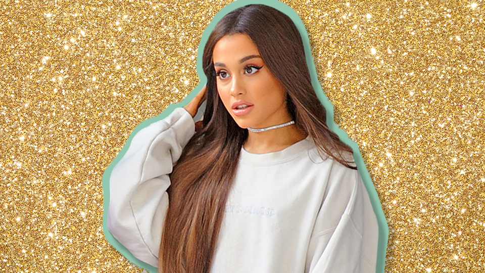 Ariana Grande's Gold Dress Looks Like It Was Dipped In A Vat Of Glitter