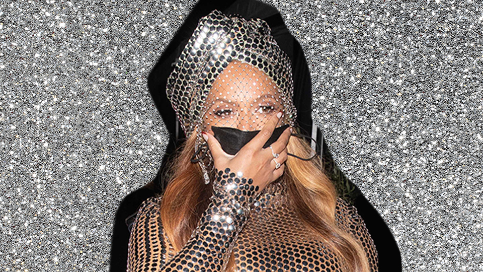 Beyonce Wore A Crystal Face Veil To The GRAMMYs After Party