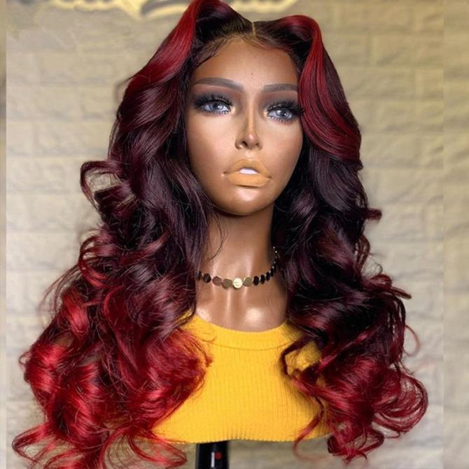 parrucca rossa ombre con trecce a corona