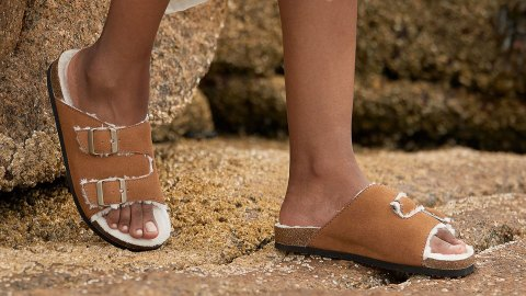 We've Found a Spot-On Dupe For Birkenstock's Coveted Arizona Shearling Slides   StyleCaster