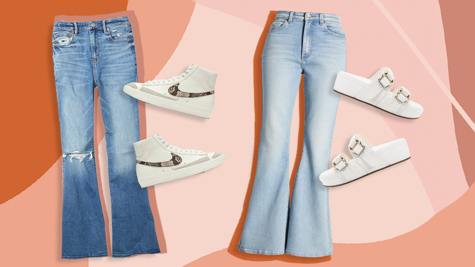 5 Denim + Shoe Combos Guaranteed To Simplify Styling Flare Jeans