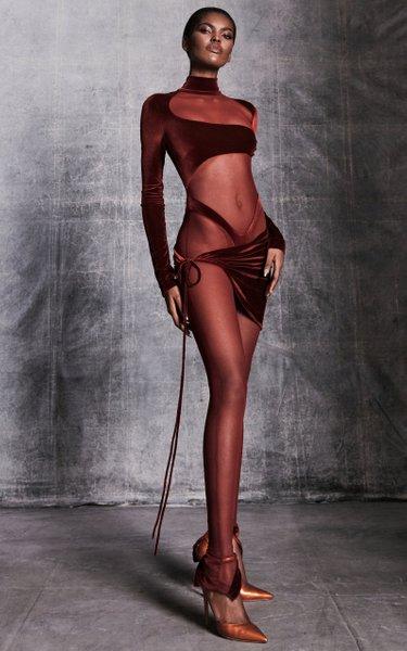 LaQuan Smith Cutout Velvet Bodysuit