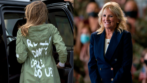 Jill Biden Low-Key Shaded Melania Trump's 'I Don't Care' Jacket With a Message of Her Own   StyleCaster