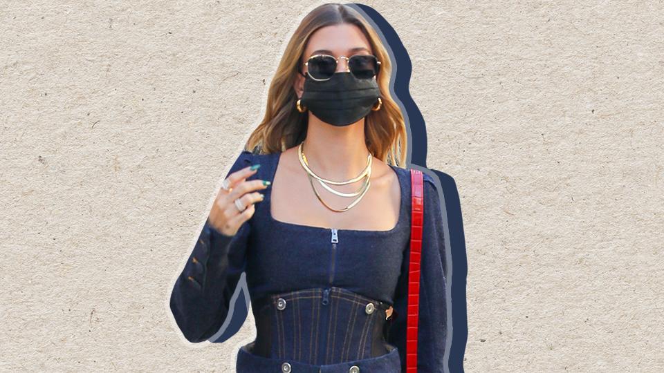 Quick, Help Me Track Down Hailey Bieber's Chic Denim Corset   StyleCaster