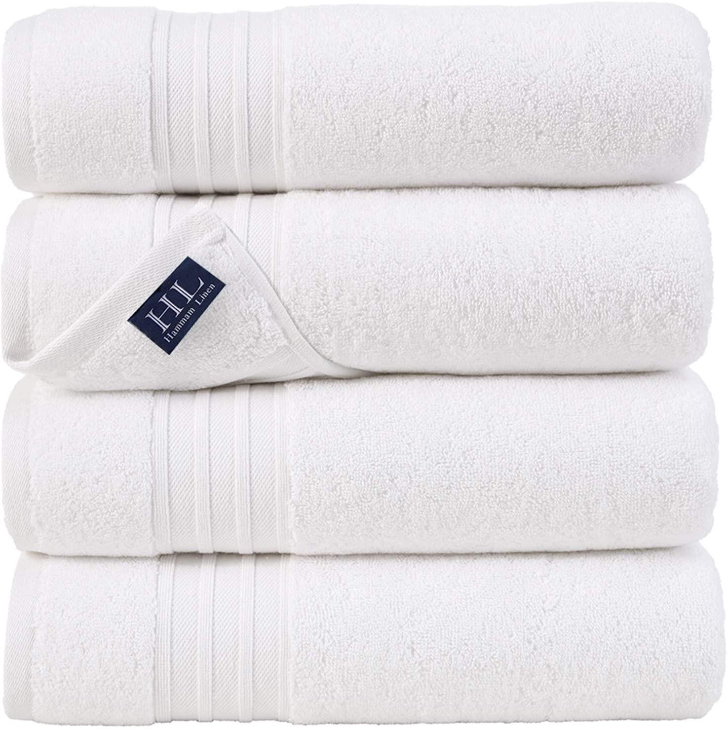 Hammam Linen White Bath Towels 4-Pack