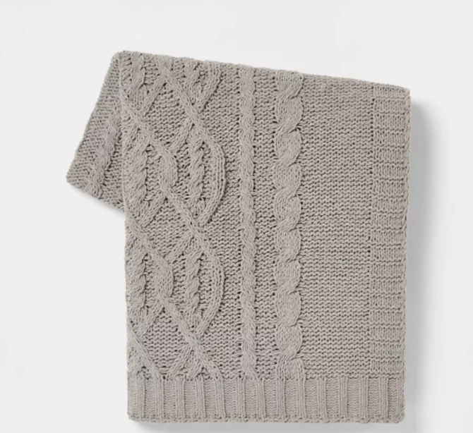 Cable Knit Chenille Throw Blanket - Threshold