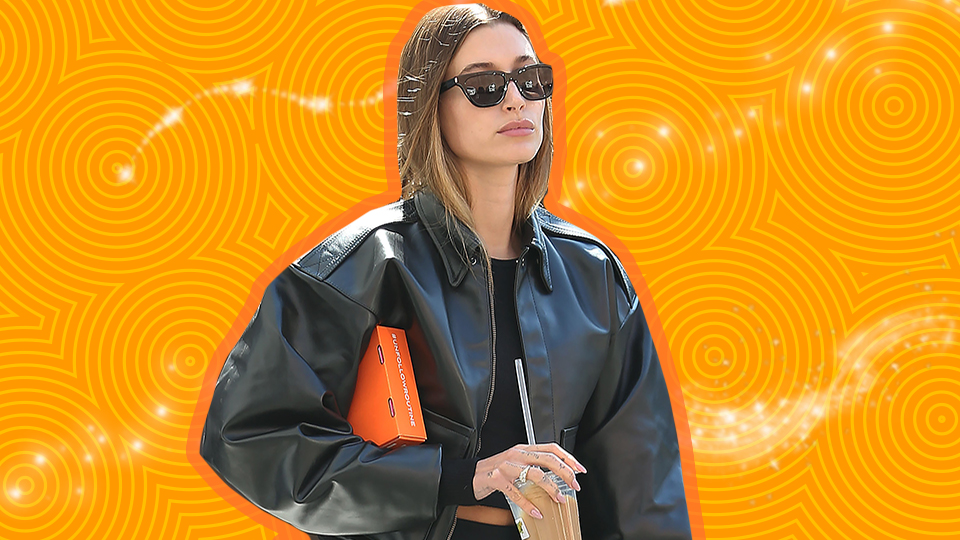 Hailey Bieber's Leather Bomber Jacket Puts Her Blazer Collection To Shame