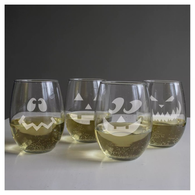 Halloween Stemless Wine Glasses Target